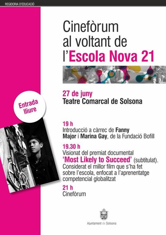 El Teatre Comarcal de Solsona acull dimarts un cinefòrum sobre l'Escola Nova 21