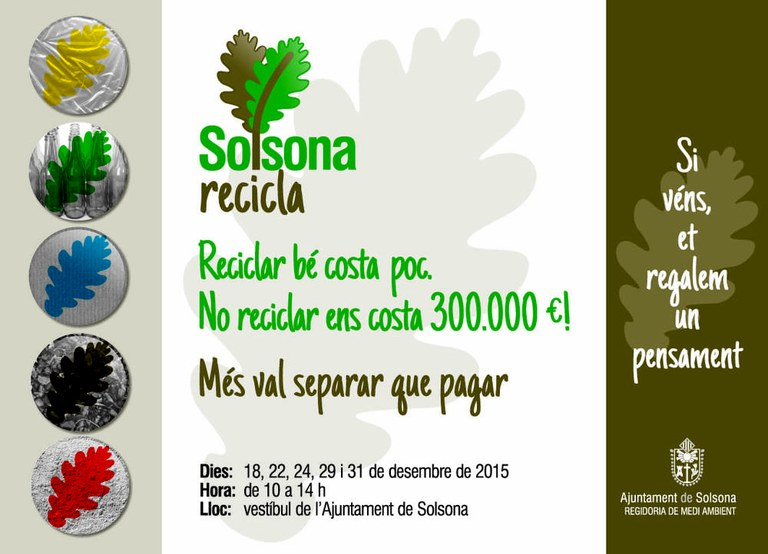 Solsona engega una campanya per fomentar el reciclatge i reduir el cost de l'ús de l'abocador