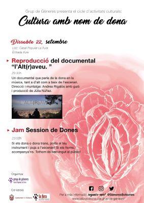CICLE 'CULTURA AMB NOM  DE DONA': Documental 'L'Alt(r)aveu' i 'jam session'