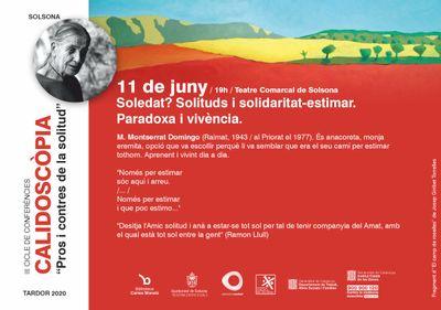 """CONFERÈNCIA: """"Soledat? Solituds i solidaritat-estimar. Paradoxa i vivència"""", a càrrec de Montserrat Domingo"""