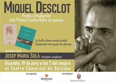 COL·LOQUI LITERARI amb el poeta Miquel Desclot