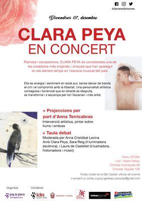 Concert de Clara Peya i debat amb dones vinculades al Solsonès