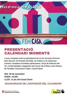 Exposició i xerrada sobre el calendari solidari 'Moments 2020', del Casal Claret