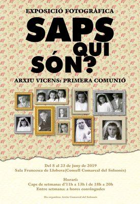 """EXPOSICIÓ: """"Saps qui són? Arxiu Vicens: primera comunió"""""""