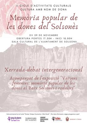 """II CULTURA AMB NOM DE DONA: """"Memòria popular de les dones del Solsonès"""""""