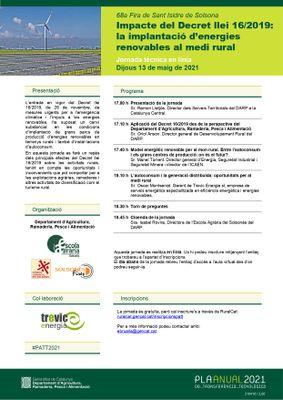 JORNADA TÈCNICA EN LÍNIA: La implantació d'energies renovables al medi rural