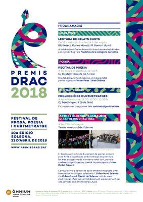 Matinal de poesia, narrativa i cinema pel nucli antic i concert de l'Orfeó i la Cobla Juvenil Ciutat de Solsona en el desè aniversari dels Premis Drac