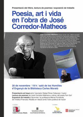 'Poesia, art i vida en l'obra de José Corredor-Matheos'