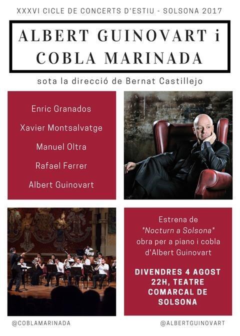 Albert Guinovart i Cobla Marinada tanquen el Cicle de concerts d'estiu de Solsona amb una estrena mundial