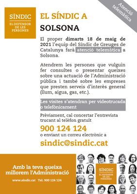 Atenció telemàtica del Síndic de Greuges a Solsona el dia 18