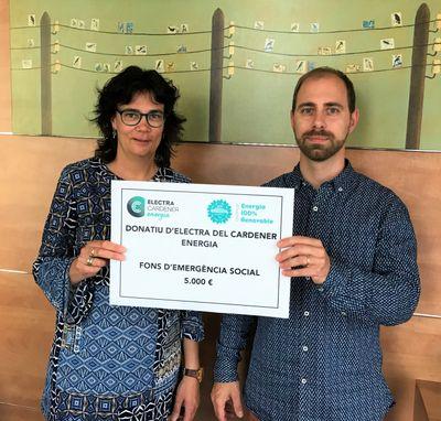 Donatiu de 5.000 euros d'Electra del Cardener al Fons d'emergència social de Solsona