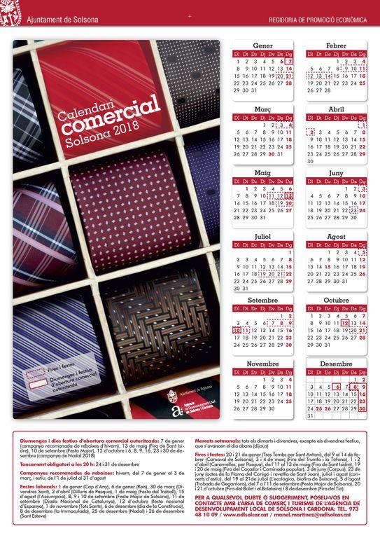 El dilluns 10 de setembre serà un festiu a Solsona d'obertura comercial autoritzada