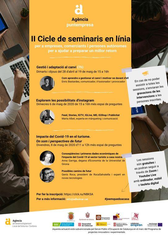 L'Adlsolcar organitza un nou cicle de seminaris en línia per a empreses, comerciants i autònoms