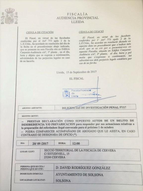 L'alcalde de Solsona és citat a declarar per la Fiscalia pel seu suport al referèndum