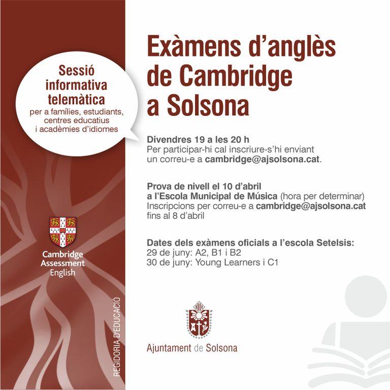 La regidoria d'Educació organitza divendres una sessió informativa sobre els exàmens de Cambridge a Solsona