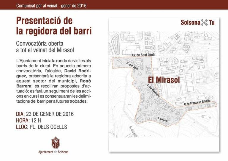 La ronda de visites als barris de l'Ajuntament solsoní continua al Mirasol i el sector del Tossal i el Serrat d'en Mingo