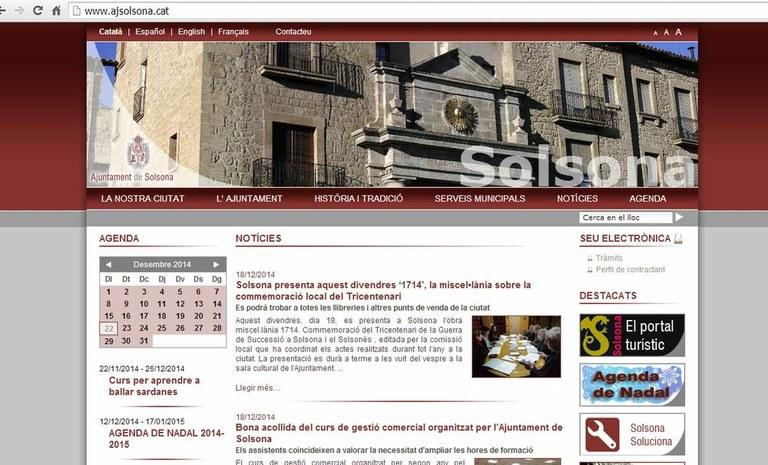 L'Ajuntament solsoní renova la distinció per la qualitat i la transparència del web
