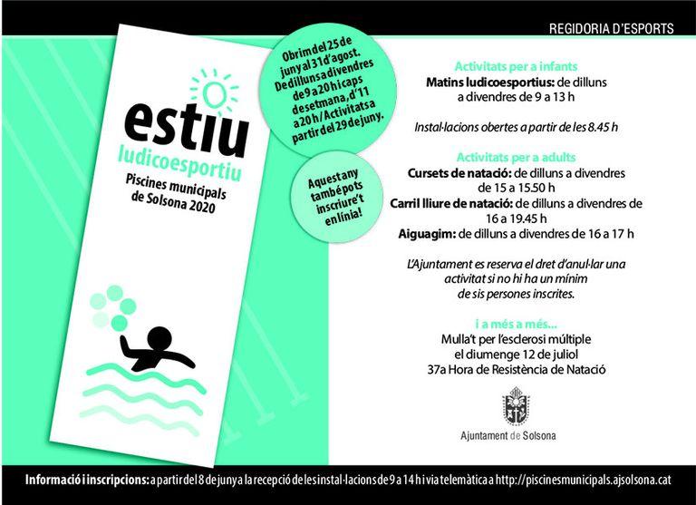 Les piscines municipals de Solsona obren les inscripcions el dia 8 presencialment i també telemàtica