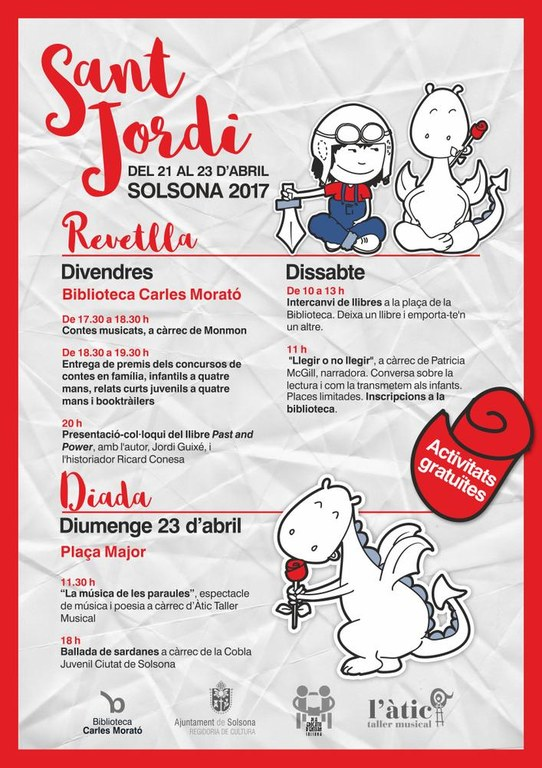 Per Sant Jordi Solsona programa tres dies d'activitats per a totes les edats