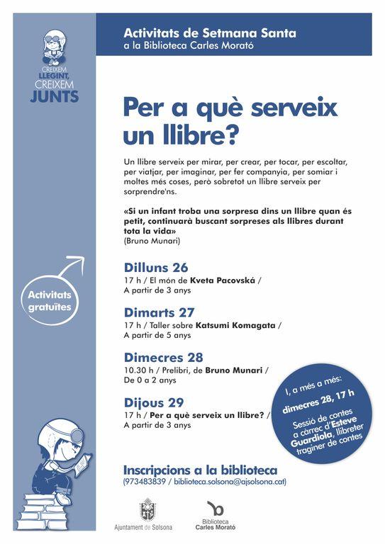 Per Setmana Santa la Biblioteca Carles Morató proposa als més petits tallers sobre el llibre d'artista