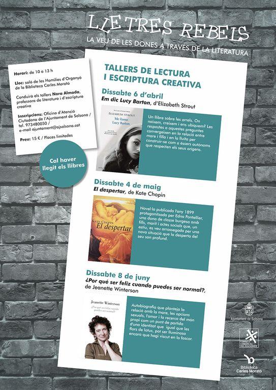 Programen a Solsona tres tallers de 'Lletres rebels' per posar en valor la veu de les dones en la literatura