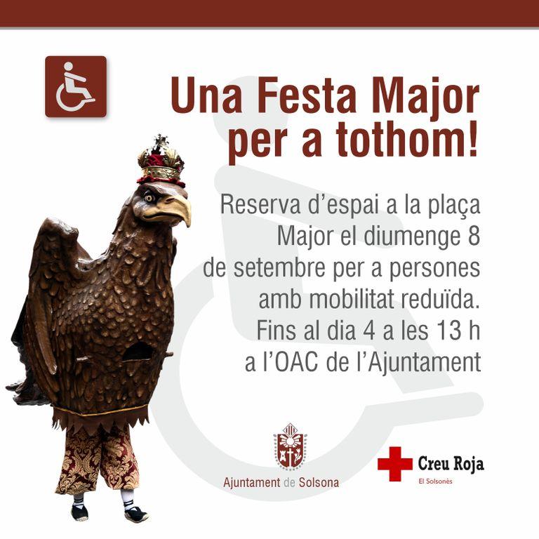 Reserva d'espai per a persones amb mobilitat reduïda a la plaça per la Festa Major de Solsona el diumenge 8
