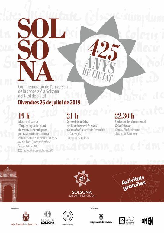 Solsona commemora els 425 anys de ciutat amb tres actes culturals aquest divendres