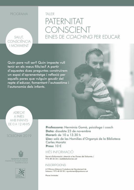 Solsona organitza un nou taller per a pares d'infants de 0 a 12 anys