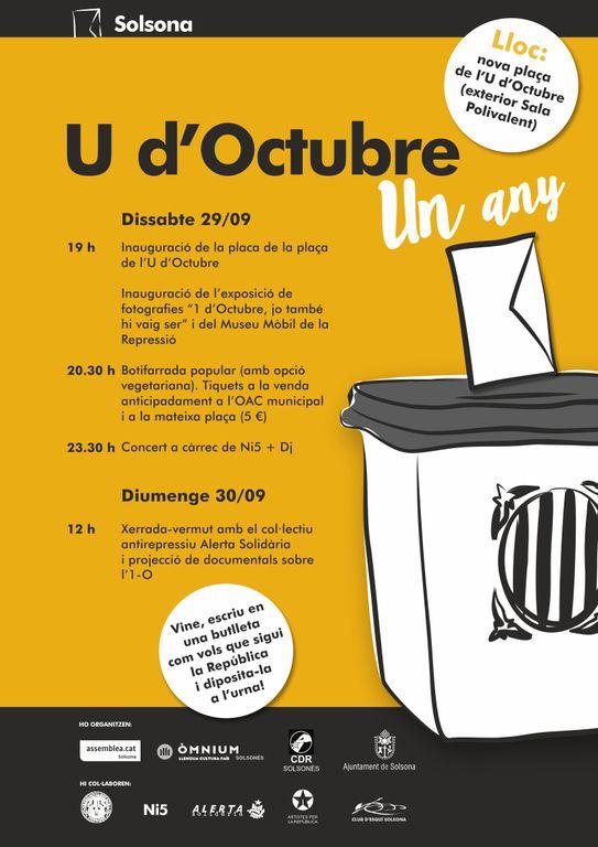Solsona rememora l'1 d'Octubre amb un cap de setmana d'actes reivindicatius