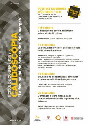 Solsona torna a posar el focus en col·lectius i temes silenciats en el segon cicle de conferències 'Calidoscòpia'
