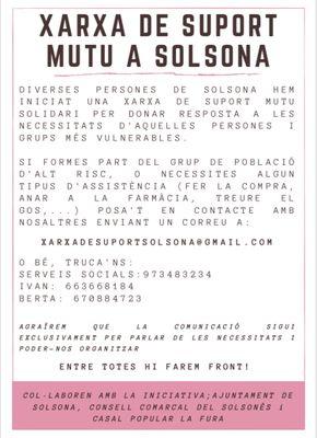 Una xarxa ciutadana de suport i els Serveis Socials de Solsona es coordinen per ajudar els col·lectius vulnerables